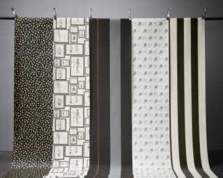 Karl Lagerfeld Wallpaper «Stripes, Black, Grey, Red» 378481