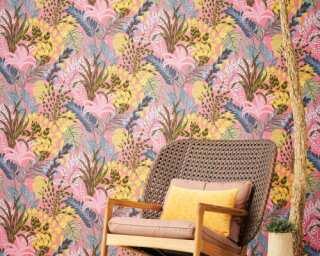 Livingwalls Wallpaper «Floral, Coloured, Pink, Yellow» 378602
