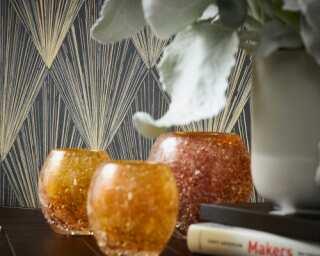Livingwalls Wallpaper «Graphics, Beige, Black, Metallic» 378644
