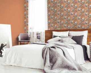 MICHALSKY LIVING Tapete «Floral, Grau, Orange» 379824