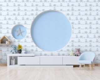 Livingwalls Vliestapete «Kindermotiv, Blau, Grau, Weiß» 381131