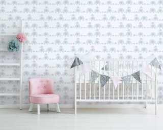 Livingwalls Vliestapete «Kindermotiv, Grau, Rosa, Weiß» 381132