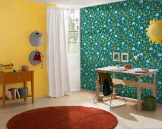 Livingwalls Vliestapete «Kindermotiv, Blau, Braun, Gelb» 381151
