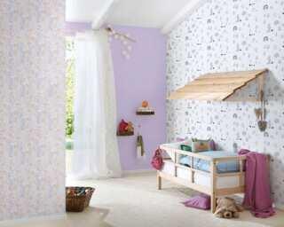 Livingwalls Vliestapete «Kindermotiv, Rosa, Violett, Weiß» 381181