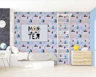 Livingwalls non-woven wallpaper «Blue, Coloured, Yellow» 381211