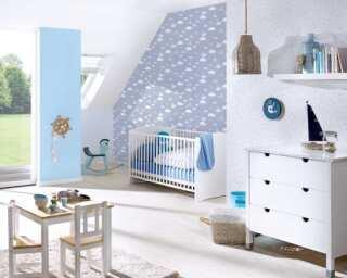 Livingwalls Vliestapete «Kindermotiv, Blau, Bunt, Grau» 381252