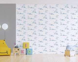 Livingwalls Vliestapete «Kindermotiv, Blau, Grau, Weiß» 381281
