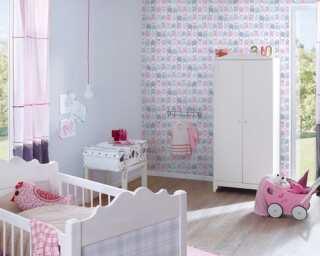 Livingwalls Vliestapete «Kindermotiv, Grau, Rosa, Weiß» 381292