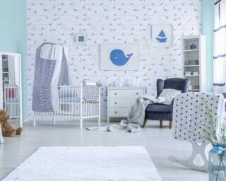 Livingwalls Vliestapete «Blau, Grau, Weiß» 381301