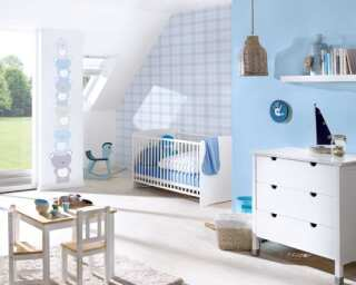 Livingwalls Vliestapete «Kindermotiv, Blau, Grau, Weiß» 381361