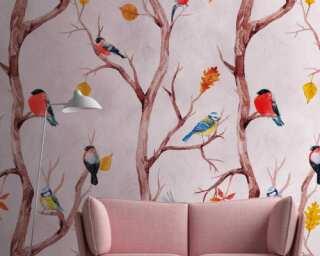 Livingwalls non-woven wallpaper «Floral, Coloured, Orange, Pink» 382301