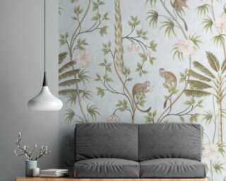 Livingwalls non-woven wallpaper «Floral, Coloured, Green, Grey» 382311