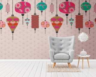 Livingwalls non-woven wallpaper «Coloured, Cream, Pink» 382481