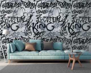 Livingwalls non-woven wallpaper «Graphics, Black, Grey» 382511