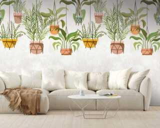 Livingwalls Vliestapete «Floral, Bunt, Creme, Grün» 382661
