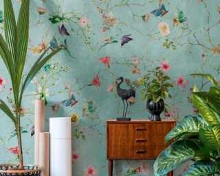 Livingwalls Vliestapete «Floral, Bunt, Grün, Rosa» 382681