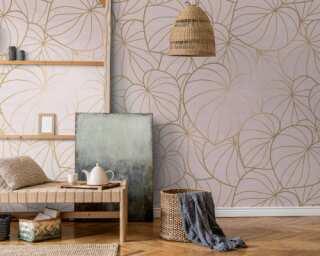 Livingwalls Vliestapete «Floral, Beige, Rosa» 382801