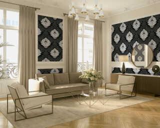 Livingwalls papier peint «Baroque, Floral, blanc, noir» 554314