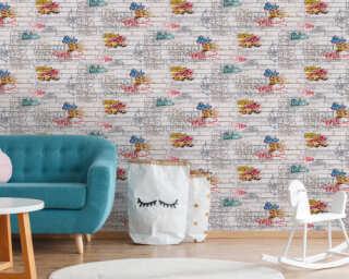 Livingwalls papier peint «Pierre, blanc, multicolore» 935611