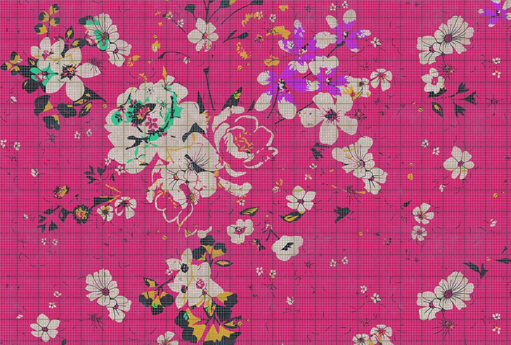 Kathrin und Mark Patel Fototapete flower plaid 2 DD113827