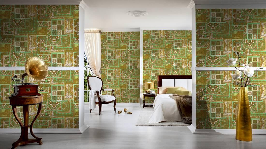Versace Home Tapete «Barock, Braun, Creme, Gold, Grün» 370482