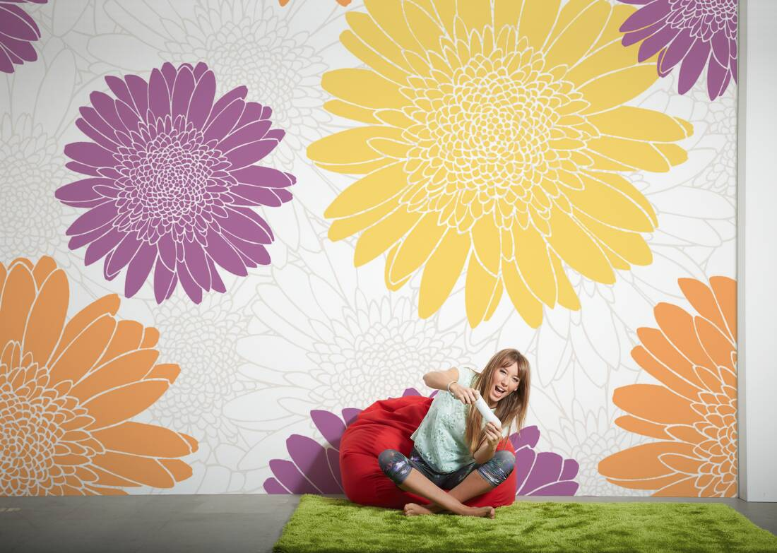 livingwalls fototapete abstrakte blumen 034020. Black Bedroom Furniture Sets. Home Design Ideas