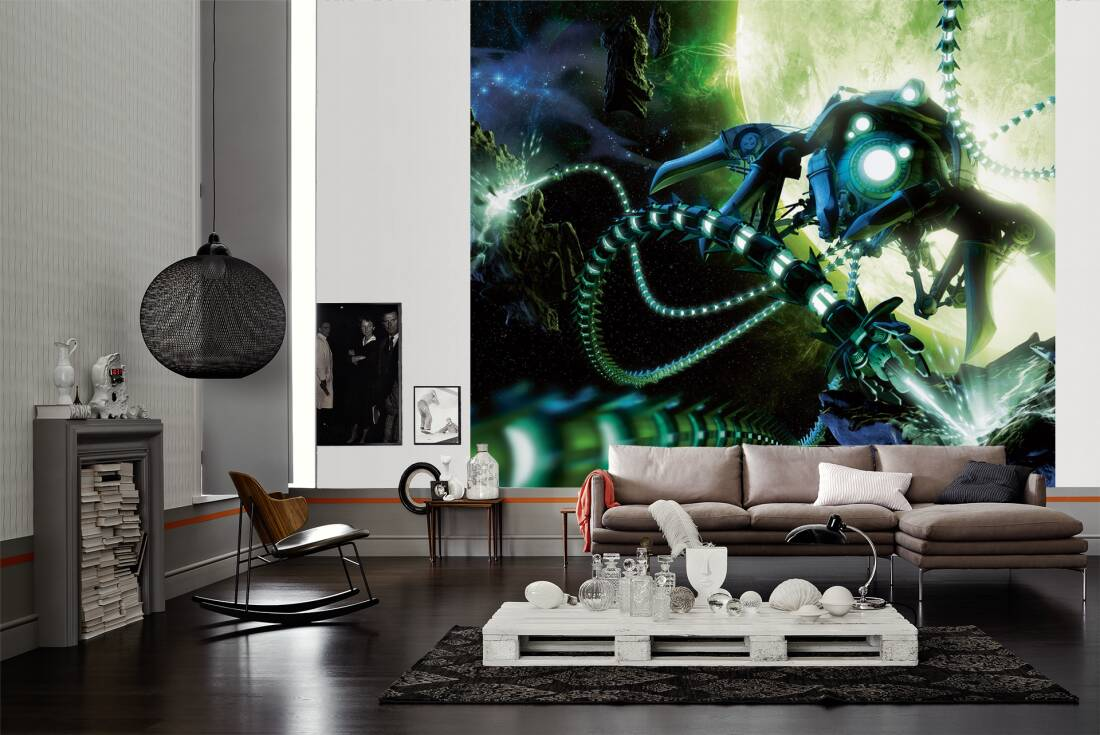 livingwalls fototapete weltraum roboter sci fi l 030032. Black Bedroom Furniture Sets. Home Design Ideas