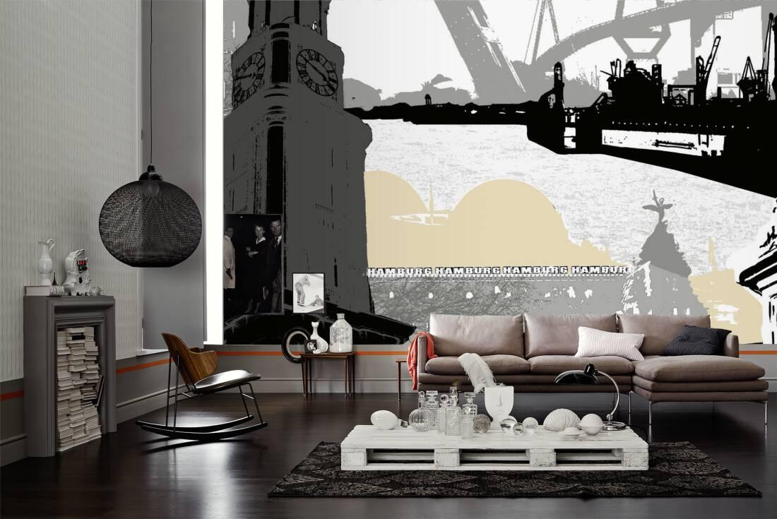 livingwalls fototapete hamburg m 032071. Black Bedroom Furniture Sets. Home Design Ideas