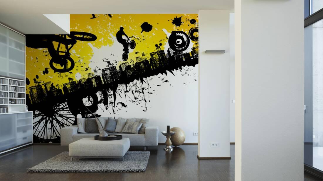 Livingwalls Fototapete BMX Riders 035000; simuliert auf der Wand