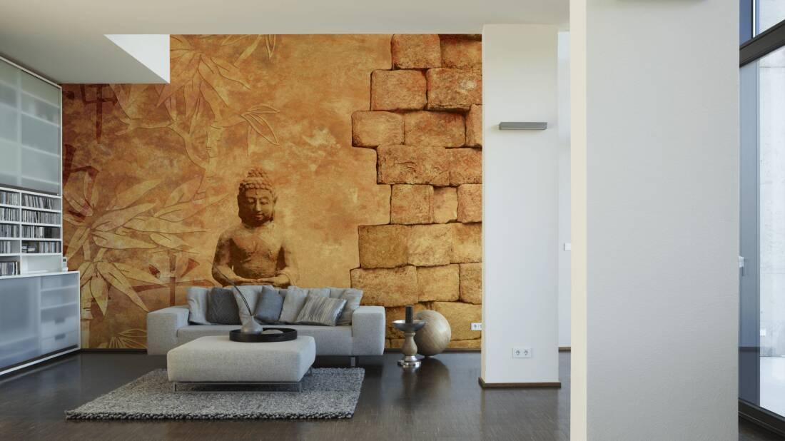 Livingwalls Fototapete Buddha in Meditation 036060; simuliert auf der Wand