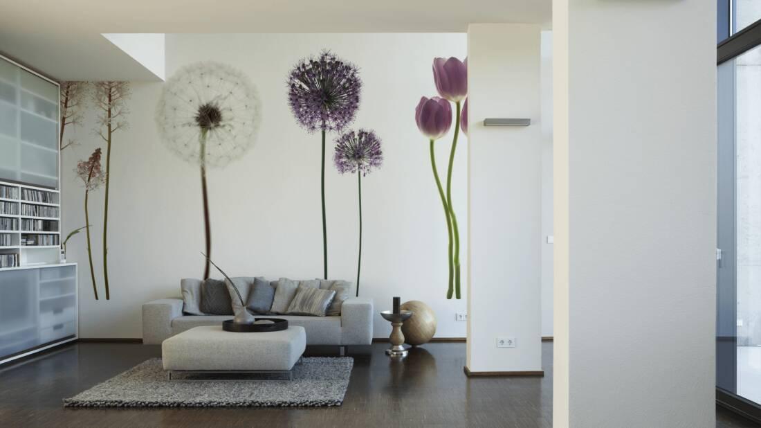 Livingwalls Fototapete Purple flowers on white 036210; simuliert auf der Wand
