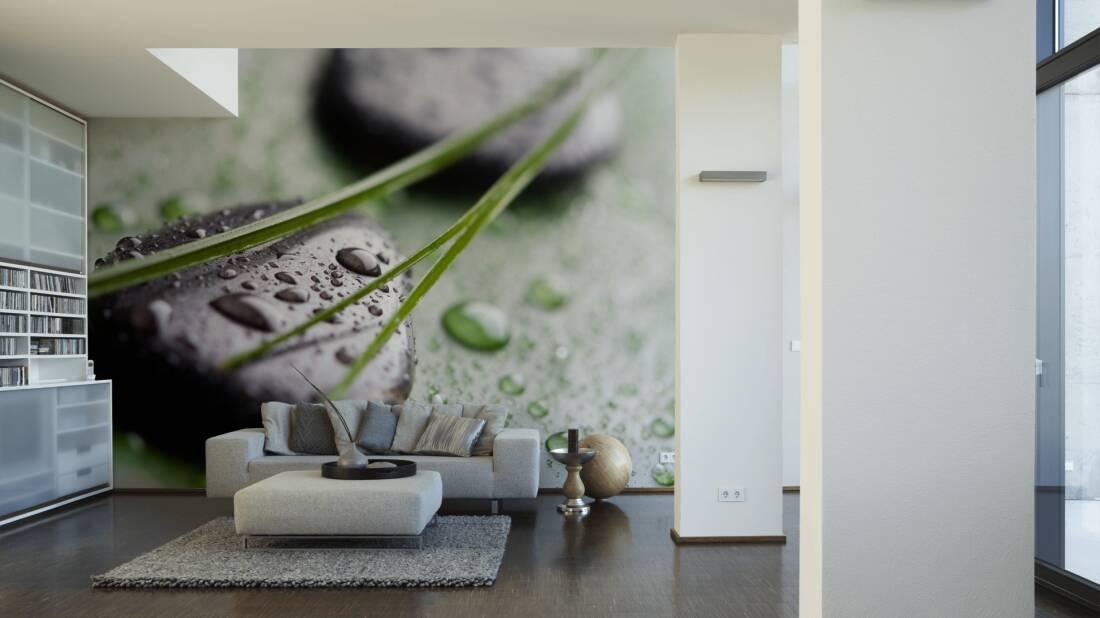 Livingwalls Fototapete Black Stones on green 036350; simuliert auf der Wand