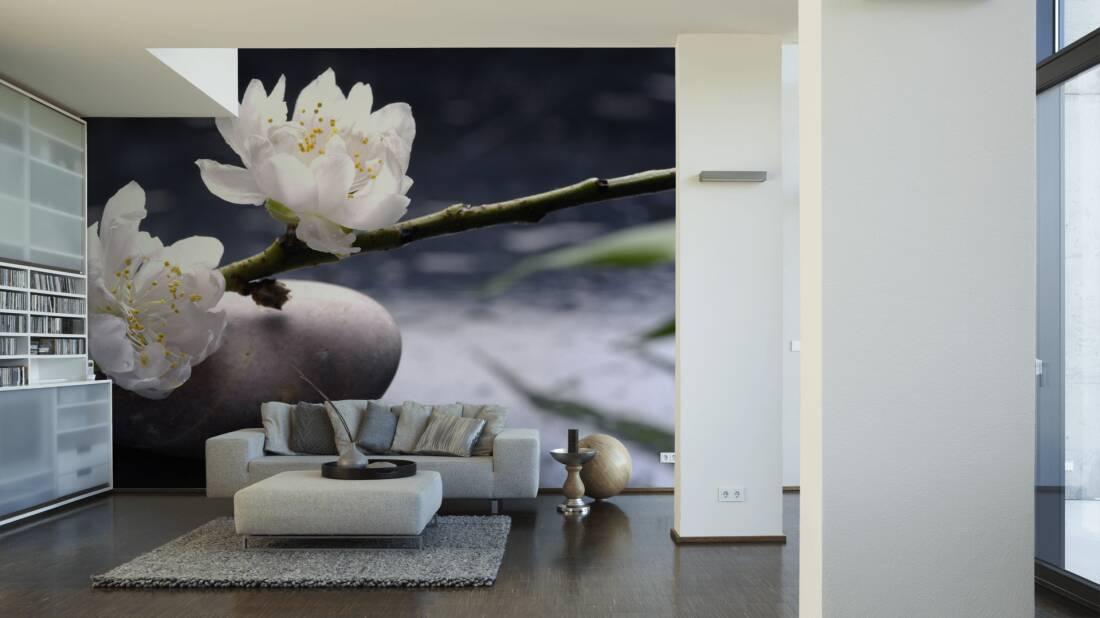 Livingwalls Fototapete White flower on stone 036360; simuliert auf der Wand