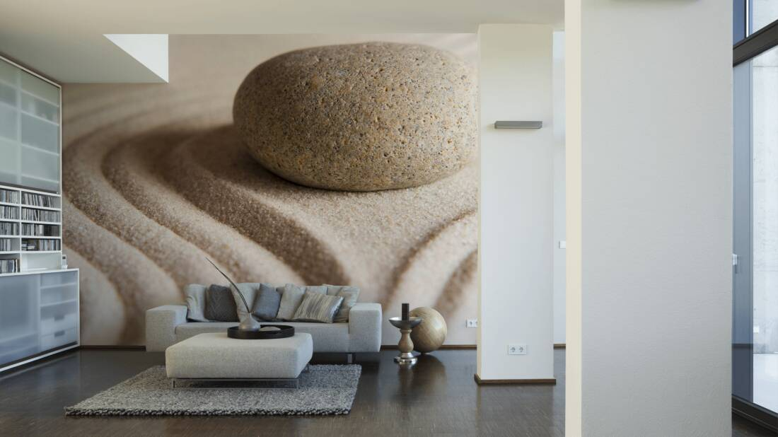 Livingwalls Fototapete Stone on sand 036400; simuliert auf der Wand
