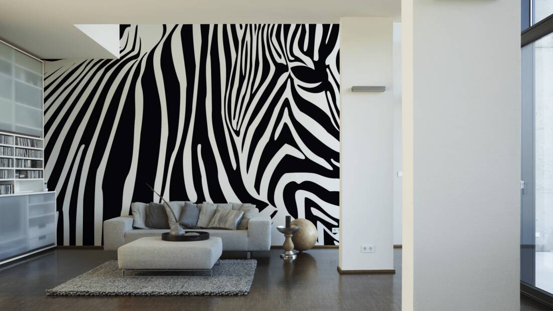 Livingwalls Fototapete Zebra 036430; simuliert auf der Wand