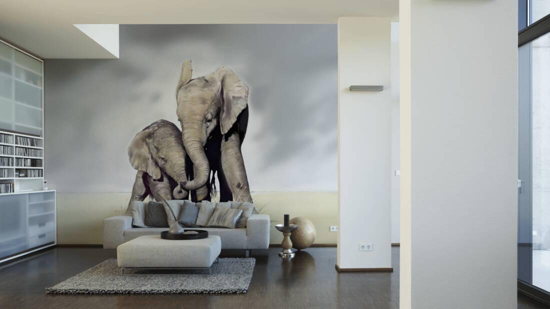 Livingwalls Fototapete Elephant Family 036440; simuliert auf der Wand