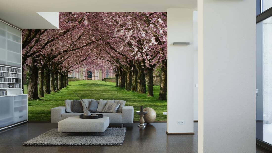 Livingwalls Fototapete Pink blossom parkway 036540; simuliert auf der Wand