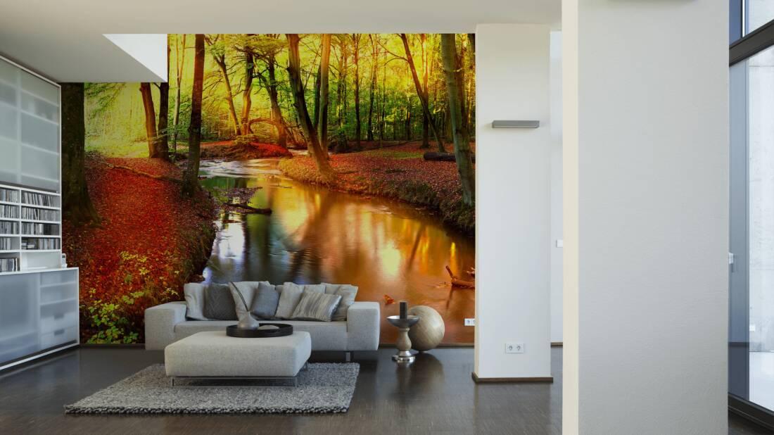 Livingwalls Fototapete Forest stream 036580; simuliert auf der Wand