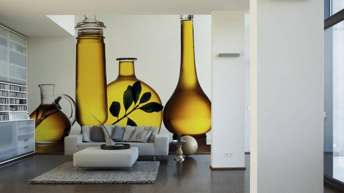 Livingwalls Fototapete Oil Bottles 036650; simuliert auf der Wand