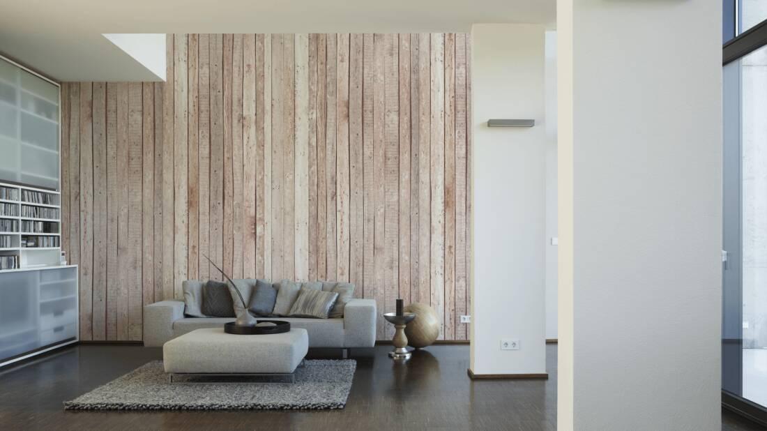 Livingwalls Photo Wallpaper Wall Boards Light Brown 036720