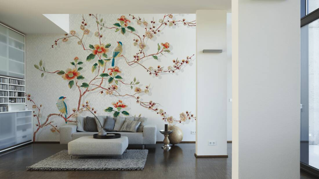 Livingwalls Fototapete Birds in tree 036860; simuliert auf der Wand