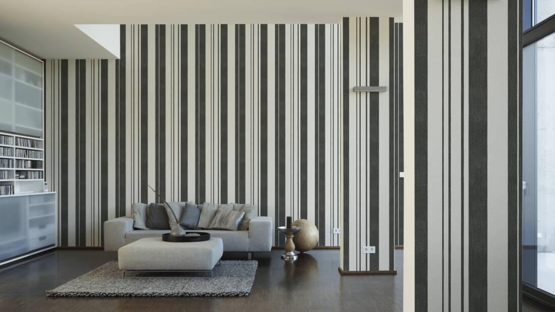 Esprit Home Wallpaper «Stripes, Black, Cream, Metallic» 327521