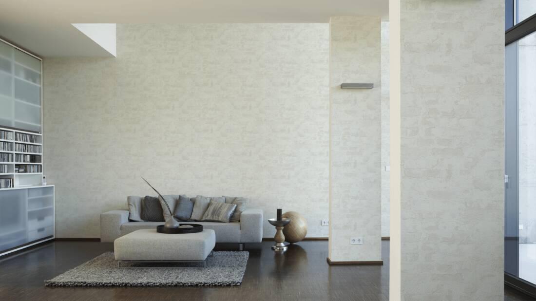 Livingwalls Tapete «Stein, Landhaus, Grau, Weiß» 369294