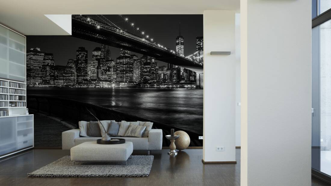 Architects Paper Fototapete «Brooklyn-Brücke in Schwarz-Weiß» 470520