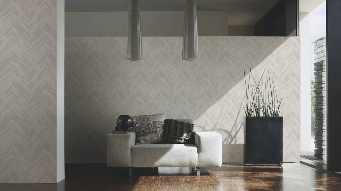 Versace Home Tapete «Holz, Landhaus, Grau, Weiß» 370511