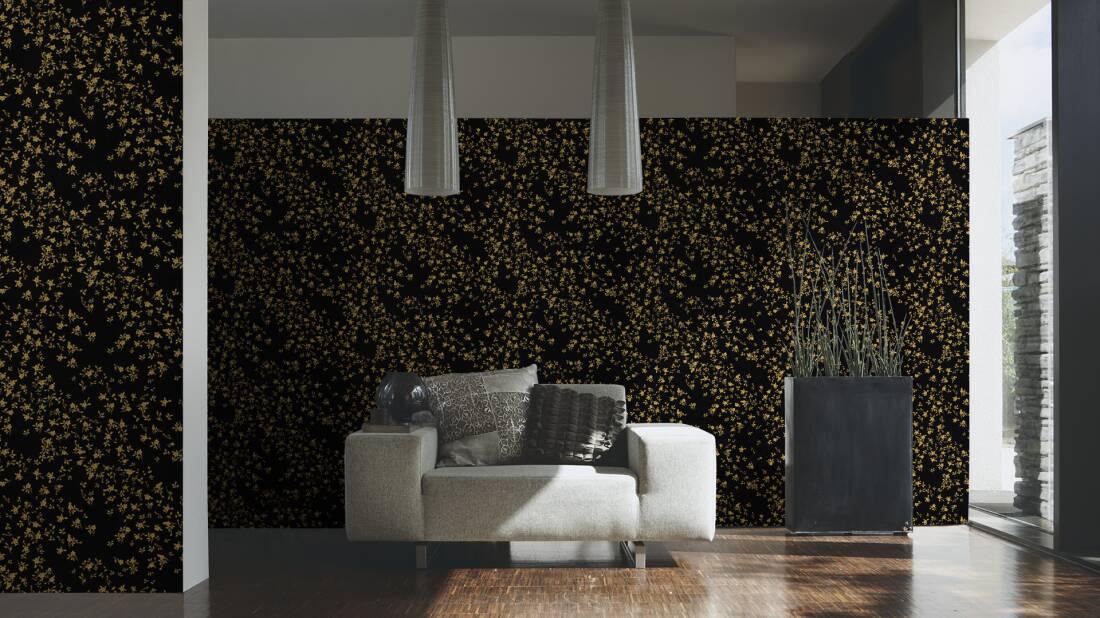 Versace Home Wallpaper Baroque Flowers Black Gold Metallic 935854
